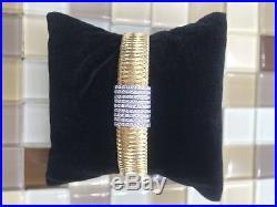 Roberto Coin 18k Yellow Gold Silk Weave 8 Row Pave Diamond Bracelet 7 L, 23.7G