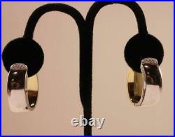 Roberto Coin 18k Yellow White Gold Diamond Oval Slanted 1.22 Inch Hoop Earrings