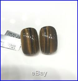 Roberto Coin 18kt Yellow Gold Cabochon Tiger-Eye & Diamond Earrings 18grams