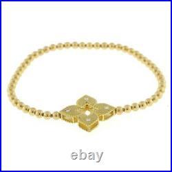 Roberto Coin Beaded Venetian Diamond Bracelet 18k Yellow Gold Flexible Fit 6.25