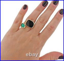 Roberto Coin Black Jade Chrysoprase Crystal 18k Gold Ring