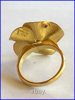 Roberto Coin Cento 18K Yellow Gold & Diamond Flower Motif Ring / Earrings Set