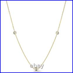 Roberto Coin DIAMONDS BY THE INCH 3 STATION DIAMOND NECKLACE Yellow Gold
