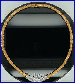 Roberto Coin Diamond 18K Yellow Gold Woven Silk Diamond Collar Necklace $10,000