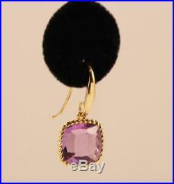Roberto Coin Ipanema 18k Yellow Gold Amethyst Drop Dangle Hook Earrings
