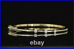 Roberto Coin Parisienne 18K Yellow Gold 3 Round 0.45ct Diamond Bangle Bracelet