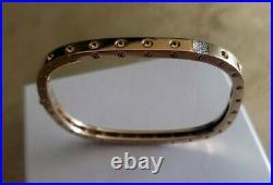 Roberto Coin Pois Moi 18k Gold Diamond Square Bangle Bracelet