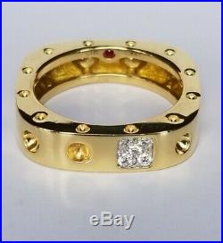 Roberto Coin Pois Moi 18k Yellow Gold Diamond Band Ring Fashion 6.5 Square Mint