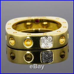 Roberto Coin Pois Moi Yellow Gold 0.07ct Round Diamond Band Ladies Fashion Ring