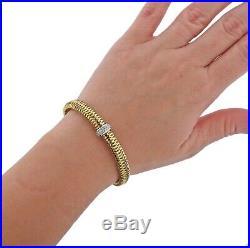 Roberto Coin Primavera 18k Gold Diamond Bangle Bracelet