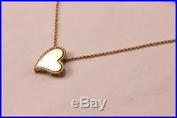 Roberto Coin Princess Slanted Heart Love 18k Yellow Gold Necklace Pendant