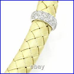 Roberto Coin Silk Woven Diamond 18k Yellow Gold Choker Necklace