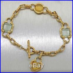 Roberto Coin Solid 18k Yellow Gold Citrine Topaz Charm Bracelet