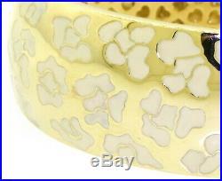 Roberto Coin heavy 18K gold beautiful floral enamel hinged bangle bracelet