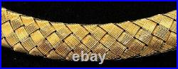 Roberto Coin heavy 18K yellow gold woven choker necklace with sapphire clasp