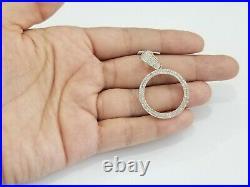 Sale 10K Yellow Gold Genuine Diamond Pendant Charm Bezel 25MM 1.5 Inches Coin