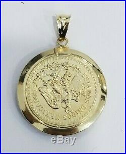 Sale 14K Yellow Gold CZ Small Dos Pesos Coin Pendant Charm USA Mexicanos