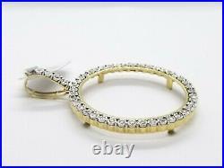 Sale Yellow Gold Genuine Natural Diamonds Coin Bezel 38MM Pendant Charm