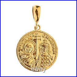 Savati 18K Solid Gold Byzantine Constantinato Coin Pendant