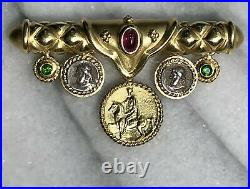 SeidenGang 18K Yellow Gold Pink Green Tourmaline Coin Horse Rider Charms Brooch