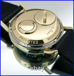 Serviced 14K Solid Gold Bulova Accutron Spaceview. Box/Coin/Extra Bat. FREE SHIP