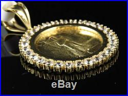 Solid 10K Yellow Gold Over Statue of Liberty Lady Coin Charm Pendant 1.50 Inch