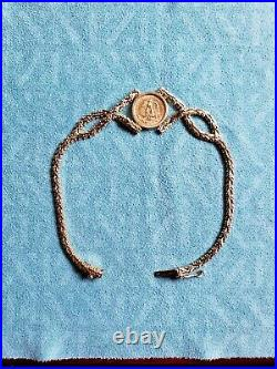 Solid 14K Yellow Gold Bracelet with 1945 DOS PESOS COIN 7.5 long 10.1G