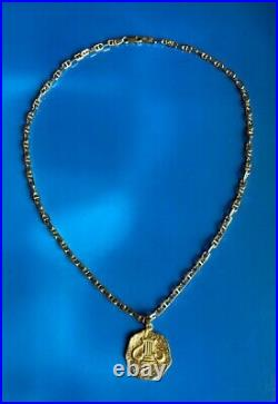 Solid 14k Gold Gucci Link Chain Necklace with Solid 18k Gold Rustic Coin Pendant