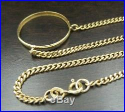 Solid 18K Yellow Gold Coin Bezel Chain Necklace 10.2gr. No Reserve, No Scrap