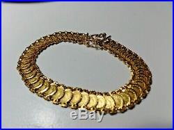 Solid 18K Yellow Gold money Coin Saudi Bracelet