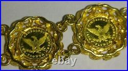 Solid 18k gold beautiful 13mm coin bracelet 16.58 grams 6.5 long