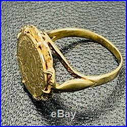 Solid 375 9ct Yellow Gold & 22ct Gold Mexican Coin Ring UK I 1/2 US 4 3/4 L64