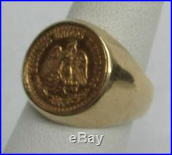 Solid Gold 1945 Mexico 2 Pesos Coin Ring Size 4 1/4