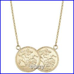 Solid Ladies 9ct Yellow Gold St George Double Half Sovereign Coin 16.5 Necklace