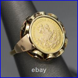 St. George Slaying the Dragon Medallion Coin Ring in 14k Yellow Gold