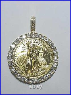 Statue of Liberty Lady Coin Charm Pendant 2Ct Round Diamond 14K Yellow Gold Over