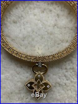 Stunning 18k Yellow Gold Roberto Coin Venetian Princess Diamond Bangle Bracelet