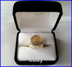 Stunning 22MM 14K Gold Men's Nugget Ring with $5 22k Gold Eagle Coin 17.2 grms