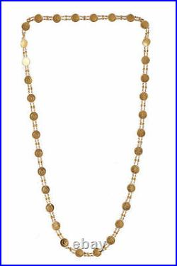 Stunning Dubai Handmade Coin Chain Necklace In Solid Certified 18K Yellow Gold
