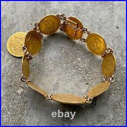 Stunning Vintage 22KT solid Gold US Love Token Coin Bracelet from 1887 $3 1878