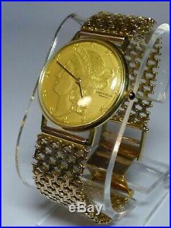UNIVERSAL GENEVE Coin Watch 18K Yellow Gold Case Mechanical Mens Watch 7.5 Long