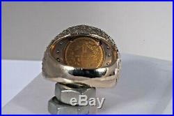 Unique 1851 $1 Gold Coin Diamonds Men's 14K Ring