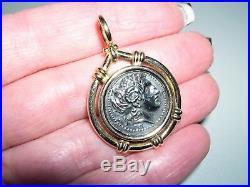 Unisex 14KT Yellow Gold Bezel Coin Pendant w Silver Ancient Greek Replica8.3G