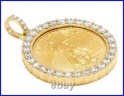 Unisex Real Diamond Pendant 22K 1/4 oz Liberty Coin 10K Yellow Gold 1.4 1.4CT