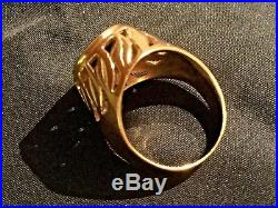 VINTAGE 14K SOLID GOLD COIN RING, S Africa krugerrand S6- Weight. 7 Grams