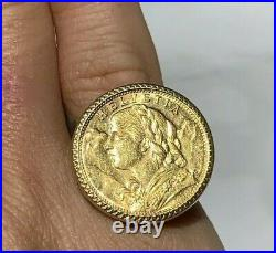 Vintage 10 Franc Swiss Gold Coin Helvetia 18K Ring Sz 6