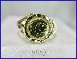 Vintage 10k Yellow Gold Round Chinese Panda Coin Bezel Set Small Ring