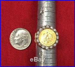 Vintage 14K Gold COIN RING with 22K MEXICAN DOS PESOS Coin 16 Small Diamonds