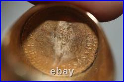 Vintage 14K Yellow Gold Matte Finish Coin Ring 22K 1945 Mexican Gold Coin SZ 9.5