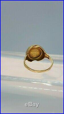 Vintage 14K Yellow Gold Mexican Dos Pesos Gold Coin Ring
